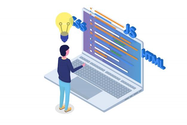 Software ontwikkeling isometrisch, programmeur aan het werk. big data-verwerking. vector illustratie.