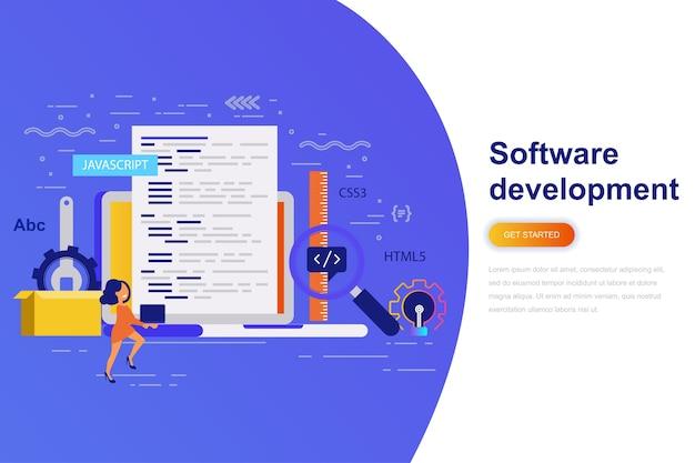 Software ontwikkeling moderne platte concept webbanner