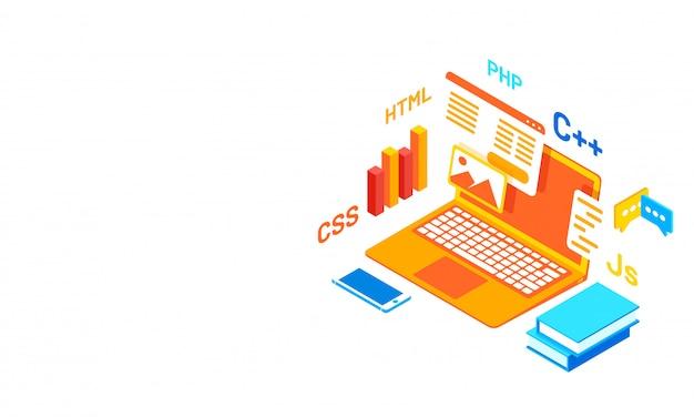 Software ontwikkeling programmaconcept.