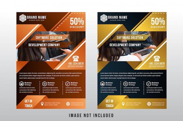 Software oplossing bedrijfsbrochure sjabloon Premium Vector