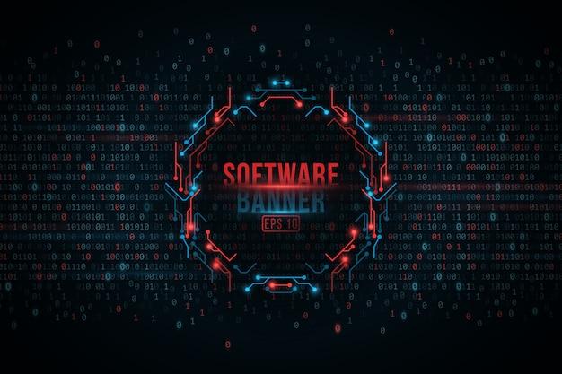 Software programmeren binaire code en computer printplaat banner, cyberbeveiliging.