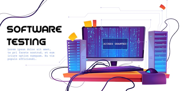 Software testen cartoon banner. functionele test, programmeermethodiek, zoekfouten en bugs, ontwikkeling van websiteplatforms, optimalisatie van dashboardgebruik voor computer-pc-illustratie