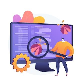 Software testen. programmeur stripfiguur met vergrootglas op zoek naar defecten in programma, applicatie. softwarefouten, fouten, risico's. vector geïsoleerde concept metafoor illustratie