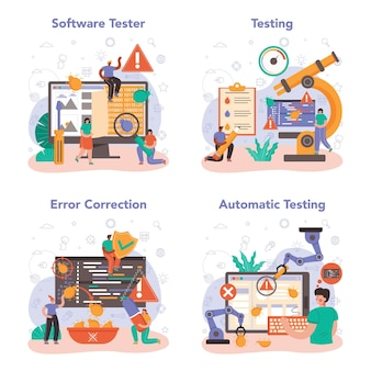 Software tester concept set. applicatie of website code testen. software ontwikkeling en debuggen. it-specialist op zoek naar bugs. idee van computertechnologie. geïsoleerde platte vectorillustratie