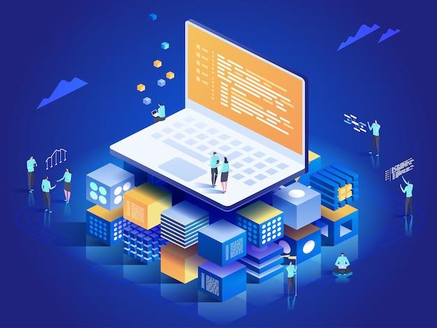 Software, webontwikkeling, programmeerconcept. mensen die communiceren met laptop, grafieken en statistieken analyseren. technologieproces van softwareontwikkeling. isometrische illustratie