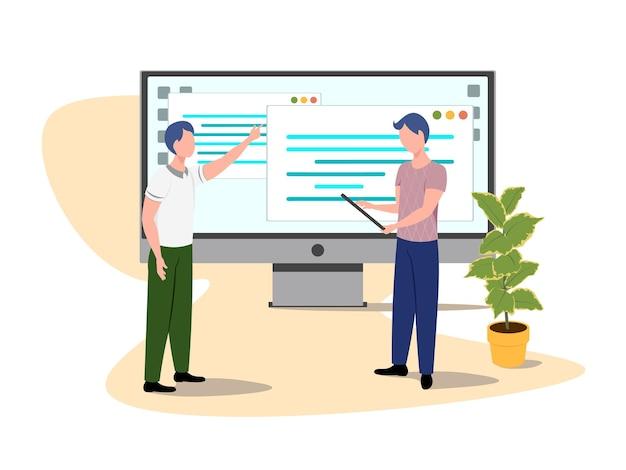 Softwareontwikkelaar karakter vector programmeur ontwikkelt code illustratie vector illustratie eps