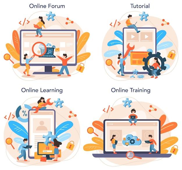 Softwareontwikkelaar online service of platformset. idee van programmeren en coderen, systeemontwikkeling. digitale technologie. online forum, tutorial, leren, training.