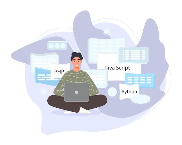 Softwareontwikkelaars werken aan scriptcodering. programmeren van tekenprogramma's in php, python, javascript, andere talen