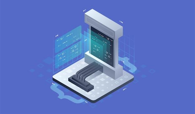 Softwareontwikkeling, concept van programmeren, gegevensverwerking. isometrische vectorillustratie.