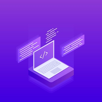 Softwareontwikkeling en -programmering, programmacodetags op het laptopscherm, verwerking van big data. 3d isometrische plat. moderne illustratie