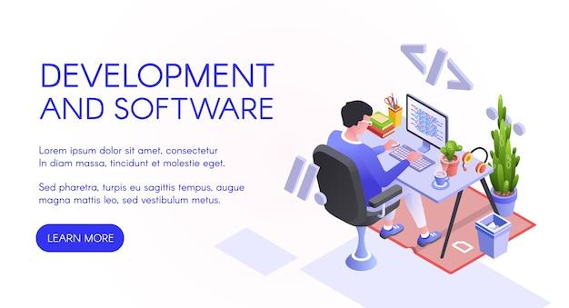 Softwareontwikkeling illustratie van webontwikkelaar of programmeur op computer.