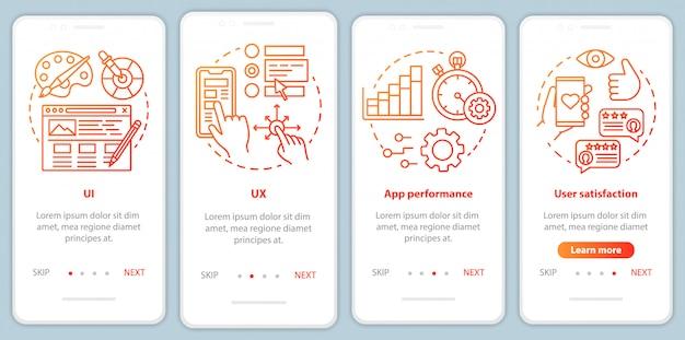 Softwareontwikkeling onboarding mobiel app-paginascherm