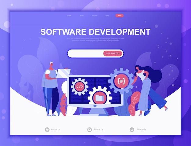 Softwareontwikkeling platte concept, landingspagina websjabloon