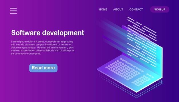 Softwareontwikkeling, programmeertaal, codering. isometrische computer met digitale applicatie