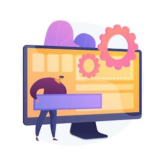 Softwareontwikkeling, programmeren, applicatie-interface. modernisering van computerapps, pc-optimalisatie, programma-instellingen. programmeur stripfiguur. vector geïsoleerde concept metafoor illustratie.