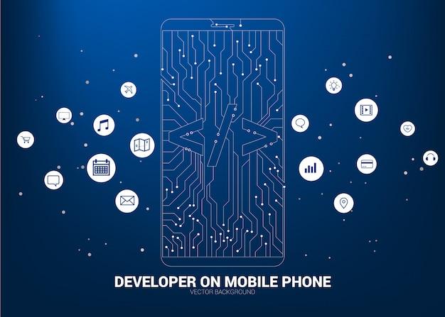Softwareontwikkeling programmering mobiele telefoon met circuit lijn achtergrond