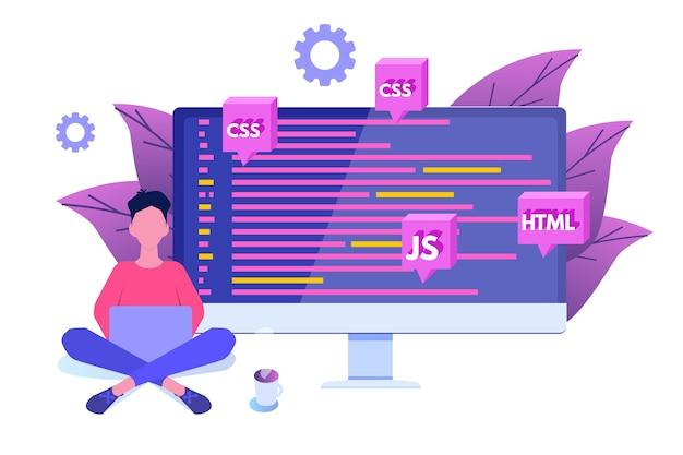 Softwareontwikkeling, programmeur op het werk. big data-verwerking.