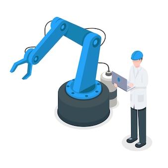 Softwareprogrammeur die robotachtige fabriekskraan controleert. geprogrammeerde industriële machines