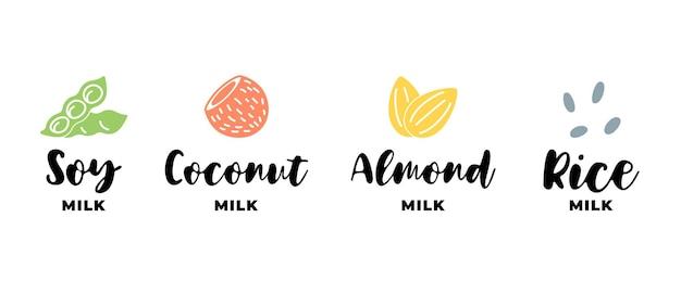 Soja, amandel, kokos en rijstmelk logo set. verpakking badge ontwerpelement set. handgetekende etiketten voor gezonde veganistische dranken. geïsoleerde logo collectie vector eps illustratie