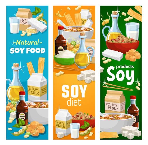 Soja- en sojaproducten vector miso-soep, sojasaus en tofu-kaas, sojamelk en -olie, bloem, vlees en huid, tempeh en gekiemde bonen.