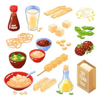 Sojaproducten geïsoleerde iconen set kaas gehaktballetjes noodle meel melk olie saus