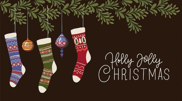 Sokken en bollen, merry christmas seizoen decoratie kaart uitnodiging viering en vakantie illustratie
