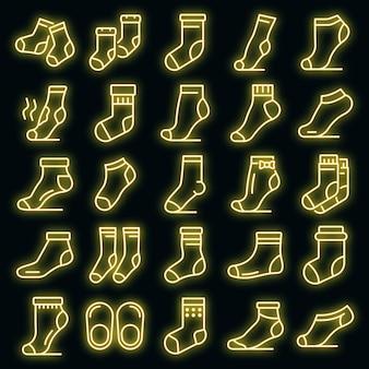 Sokken pictogrammen instellen. overzichtsreeks sokken vectorpictogrammen neonkleur op zwart