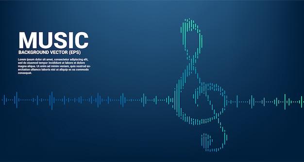 Sol key note icon sound wave music equalizer achtergrond. achtergrond voor evenementconcert en muziekfestival