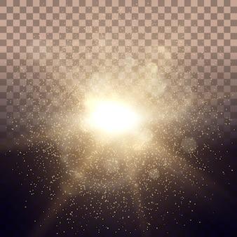 Solar dawn gloeilampen lichten straal transparante achtergrond met roze lenseffect.