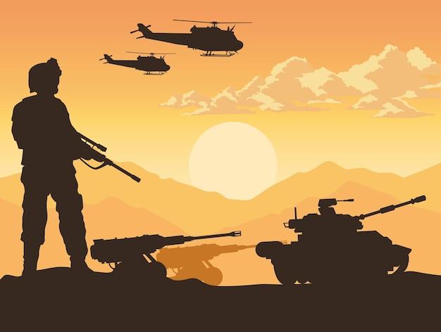 Soldaat en oorlogsuitrusting