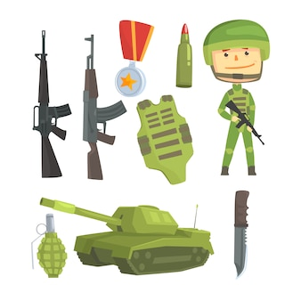 Soldaat en professioneel legerwapen, ingesteld voor labelontwerp.
