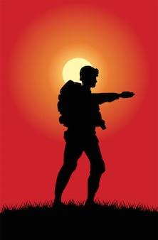 Soldaat figuur silhouet in zonsondergangscène