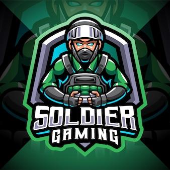 Soldaat gaming esport mascotte logo