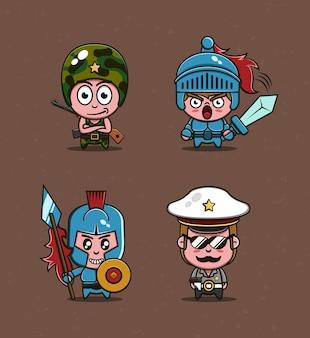 Soldaat leger en politie in cartoon-stijl premium vector