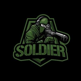 Soldaat mascotte logo afbeelding