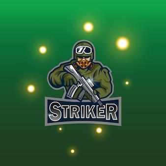 Soldaat mascotte logo