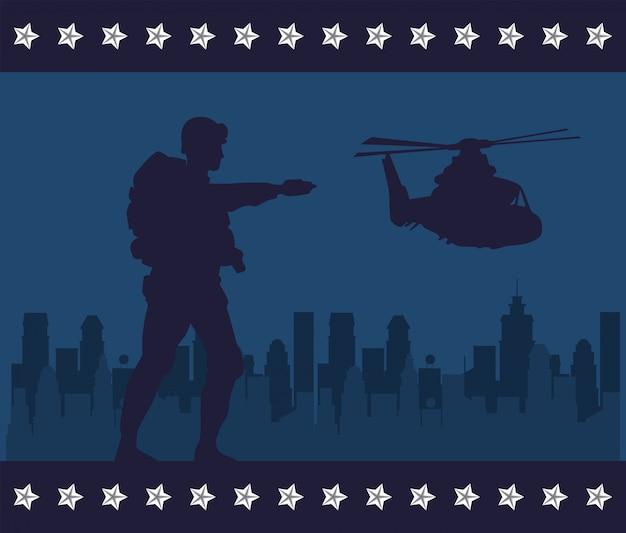 Soldaat met geweer en helikoptersilhouet in stadsgezicht