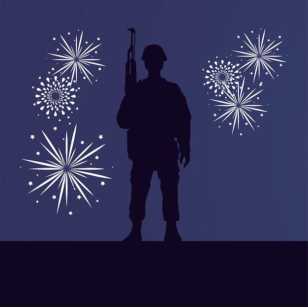 Soldaat met geweer en vuurwerk figuur silhouet