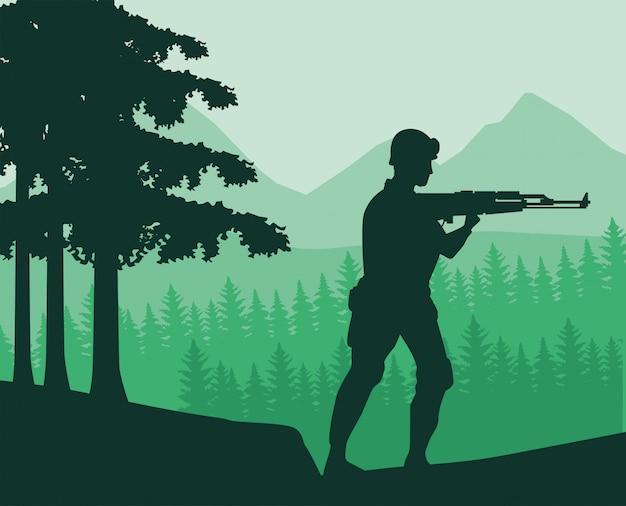 Soldaat met geweer figuur silhouet in de jungle