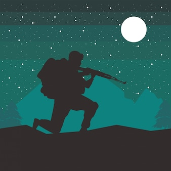 Soldaat met geweer figuur silhouet 's nachts