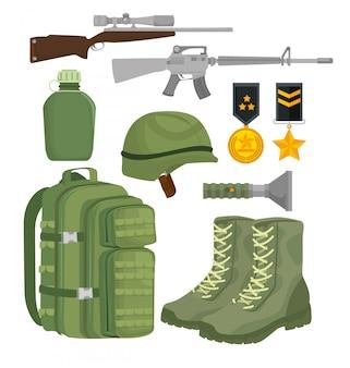 Soldaat oorlog apparatuur pictogrammen