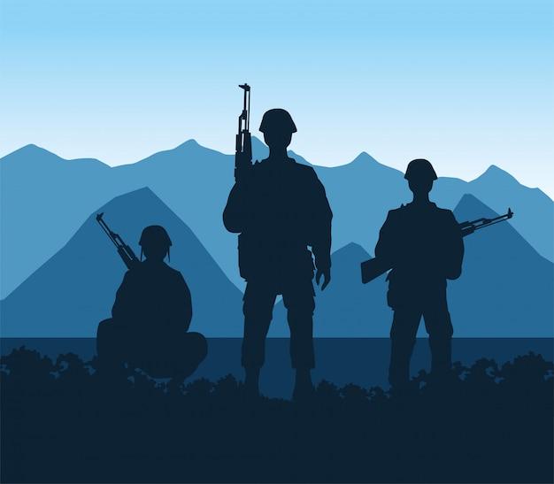 Soldaten cijfers silhouetten in het kamp scène vector illustratie ontwerp