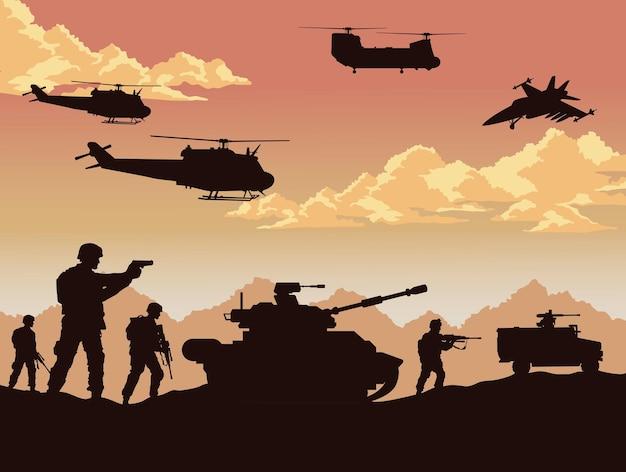 Soldaten en oorlogsuitrusting