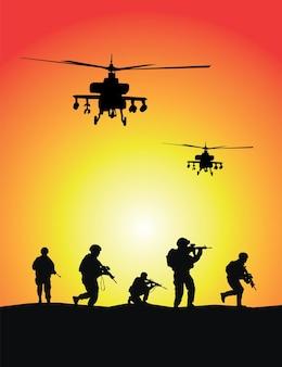 Soldatengroep, militaire helikopters op zonsondergangachtergrond
