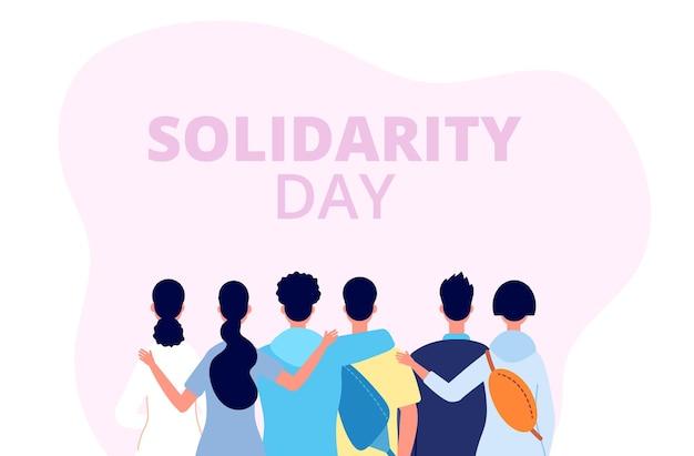 Solidariteit dag banner. internationaal vriendenfeest, diverse mensen groepsknuffel. menselijke gemeenschap, culturele vriendschap ondersteuning vectorillustratie. vriendschap samen, mensen diversiteit eenheid