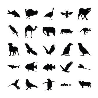 Solide pictogrammen van dieren