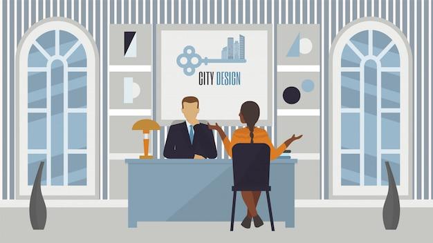 Sollicitatie-interview op kantoor, mensen werkgever en kandidaat