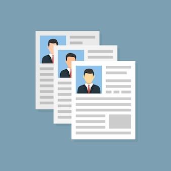 Sollicitatie plat. vector recruitment kandidaat baan. vector illustratie