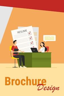 Sollicitatiegesprek concept. hr-managerbijeenkomst met kandidaat met cv voor gesprek. vectorillustratie voor nieuwe werknemer, human resources, carrièreonderwerpen