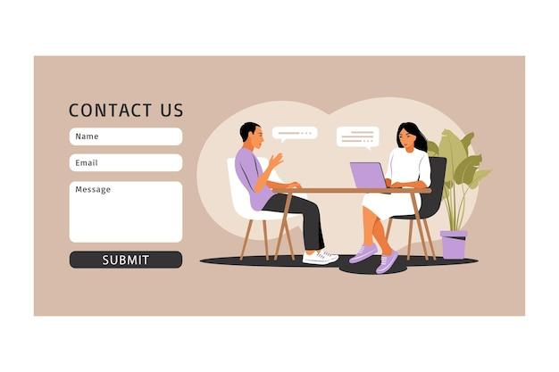 Sollicitatiegesprek concept. neem contact met ons op. interview met personeelszaken.